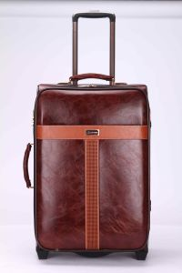 PU Leather Trolley Luggage Two Wheel Jb061 pictures & photos