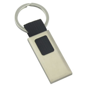 Customized Engrave Logo Promotional Metal Keychain with Ribbon (F1042B)