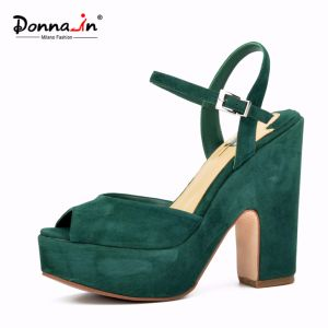 2017 Lady Suede Leather High Heels Platform Women Casual Sandals