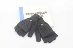 Black Half Finger Flip Gloves, Acrylic Knitted Gloves Fashion Accessory for Men