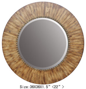 Nature Wood Mirror Home Decor Round Wall Mirror pictures & photos
