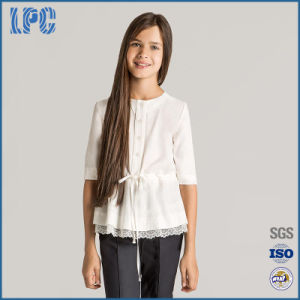 Stylish Grils 3/4 Length Sleeve Blouse School Uniform with Lace Detail pictures & photos