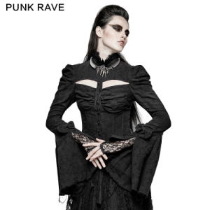 Y-729 Sexy Gothic Arc Hollow out Double Sleeve Shirts for Performance