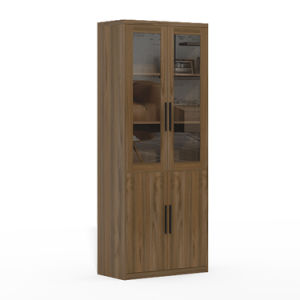 Hotel Room Wooden Bookcase With Glass Doors