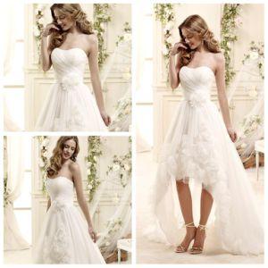 Spring Organza Short Front Long Back Wedding Dress 10274