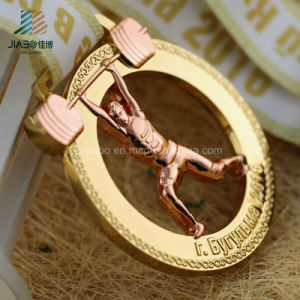 Custom Zinc Alloy Rose Golden Powerlifting Metal Sports Medals with Cut out pictures & photos
