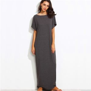 Ladies Round Neck Casual Long Loose Fit Dresses pictures & photos
