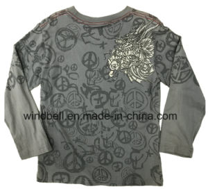 Dragon Pattern Printed Cotton T Shirt for Boy with Monkey Wash pictures & photos