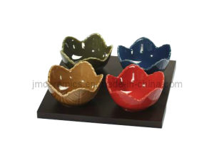 Lotus Sala Bowls Set with Wooden Tray