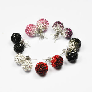 Clay Beads Earring Shamballa Earrings Silver Br Ce035