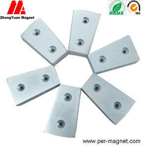 Zn Plated Wedge NdFeB Permanent Magnet with Countersunk Hole