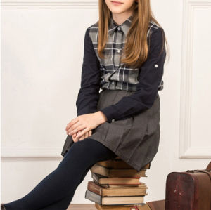 Factory Cheap High Quality Long Sleeves Autumn Middle School Uniform Plaid Grid Shirt