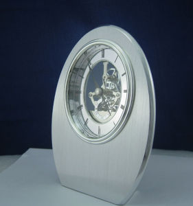 Skeleton Dial Roman Oval Metal Mantel Clock