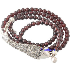 Natural Garnet Beads Bracelet with Silver Charm (BRG0025)