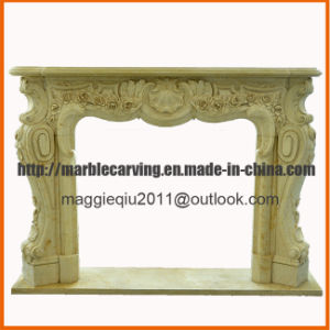 Decoration Indoor Fireplace with Yellow Marble pictures & photos