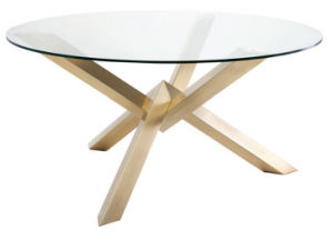 Round Glass Dining Table with Stainless Steel Leg
