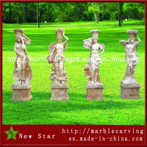Exquisite Garden White Marble Statue of Beautiful Girl pictures & photos