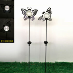Garden Decoration Glass Ball Solar Power Metal Butterfly Stake