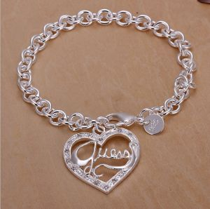 Fashion Design Silver Plated Heart Bracelet for Girl 2014 Lknspch225