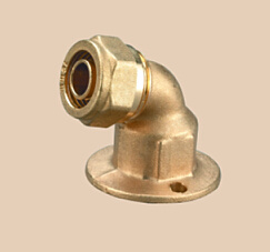 Brass Compression Fitting Wallplate Elbow for Pex Pipes