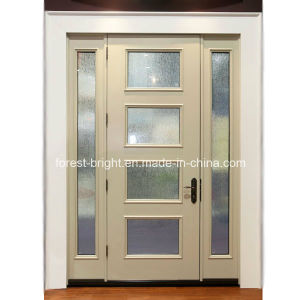 White Entry Door with Stained Glass Inserts pictures & photos