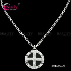 Fashion Rhinestone Sliver Jewelry Necklace with Cross