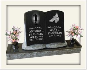 Book Shape Black Granite Tombstone Modern European Style