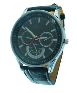 Alloy Wristwatch With Leather Straps (AW-3020)