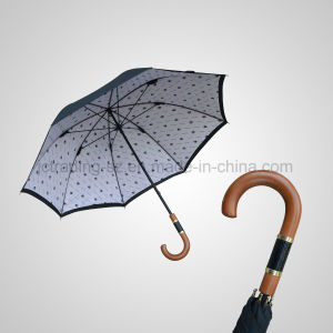 Double Layer Wooden Handle Long Straight Rain/Sun Umbrella (JL-MQT136)