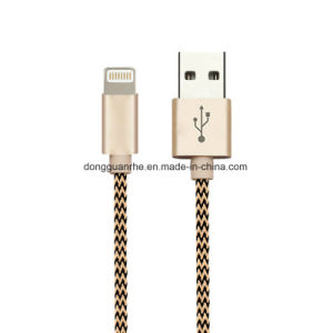 Mfi Certified Lightning USB Data Cable Charging for iPhone with Aluminum Cotton Fabric Braided