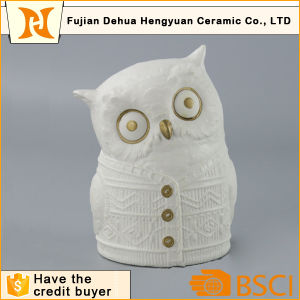 White Ceramic Owl Figure for Desktop Gift pictures & photos