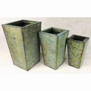 Square Tin Galvanized Antique Green Home Garden Pot Flower Pot