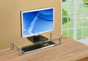 China Computer Monitor Stand Desktop Riser Clear Tempered Glass
