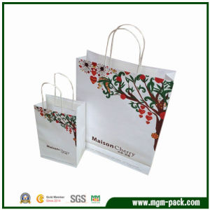 Fashion Durable White Rectangle Paper Gift Handbag pictures & photos