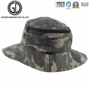 Classic Green Camo Waterproof Fisherman Zipper Bucket Hat with Pocket pictures & photos