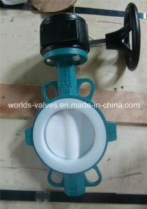 PTFE Full Coated Two PCS Body Industrial Butterfly Valve with Ce & ISO Approved (D71X-10/16)