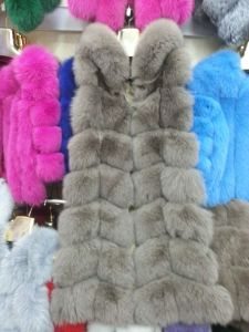 2015 Multicolor Real Fox Fur Vest with Hood