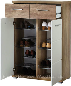 2 Door White Gloss and Oak Shoe Cabinet Organizer (HF-EY08199) pictures & photos