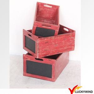 Recycled Fir Vintage Brown Art Minds Wood Crates with Handles pictures & photos