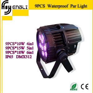 New 9PCS*10W 4in1 LED Waterproof PAR Light for Dyeing Effect