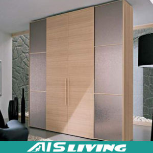 Fashion Style Sliding Door Wood Color Hanging Closet Wardrobe (AIS W054)