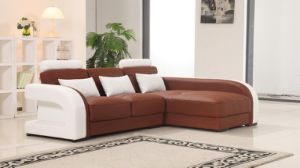 Modern Italian Leather Sofa with L Shape Sectional Sofa