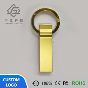 Custom Logo Golden Mini Metal USB Flash Memory Pen Drive with Keychain