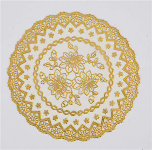 16cm Round PVC Tablemat with Gold Lace Popular Coffee/Wedding pictures & photos