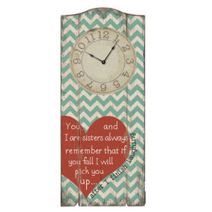 Wood Wall Plaque with Clock - Love