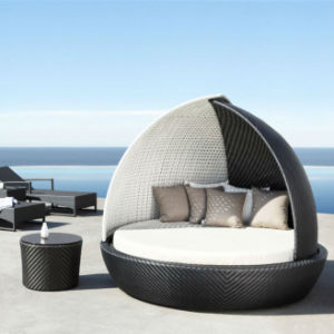 DYBED D2218, Wicker Garden Patio Sun Bed, Rattan Outdoor Leisure Double  Daybed,