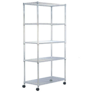 Mobile Wire Rack   China Chrome Mobile Wire Rack Shelving With 5 Layers 18 X36 X72