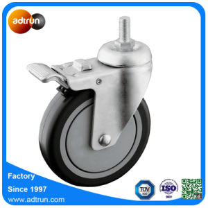 "5 X 1-1/4"" TPU Thread Stem Casters with Brake pictures & photos"