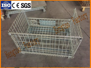 Welded Wire Collapsible Container Bulk Mesh Storage Bin For Warehouse Usage