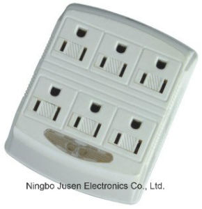 6 Outlets Grounding Current Tap with Sensor Night Light pictures & photos